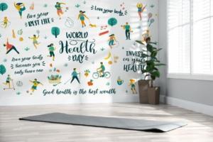 Fitnessstudio zuhause mit typografischer Fototapete