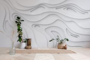 Geometrische Fototapete 3D im Fitnessstudio zuhause